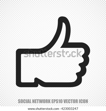 The universal vector icon on the social media theme: Black Thumb Up. Modern flat design. For mobile and web design. EPS 10. - stock vector