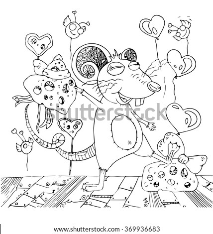 the valentines heart for rat symbols of chinese horoscope of the year cartoon hand drawn outline isolated on the white background - stock vector