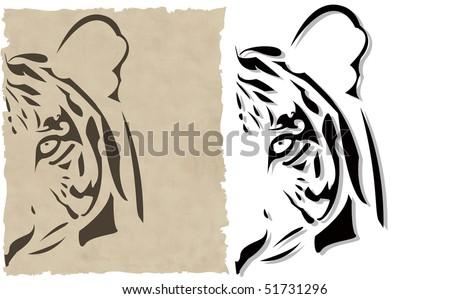 the vector abstract tiger head - stock vector