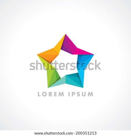 The Vector colorful Origami David Star  - stock vector