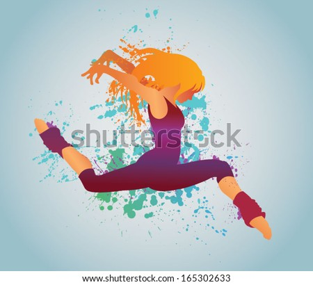 The vector dancing girl with colorful spots and splashes on a light background - stock vector