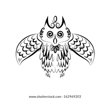 The vector drawing of stylized owl. Calligraphic sketch. - stock vector