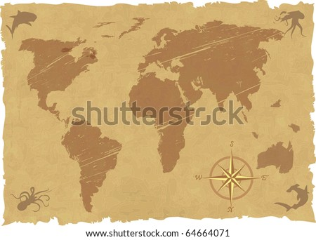 the vector grunge old map - stock vector