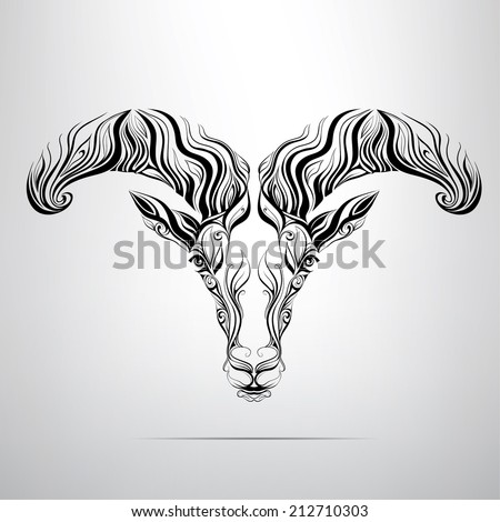The vector head of a ram in an ornament - stock vector