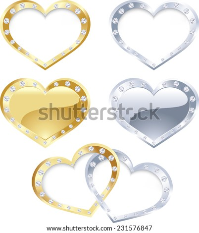 The vector illustration contains the image of gold and silver heart - stock vector