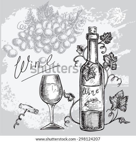 "The vector illustration ""hand drawn wine set"" for design - stock vector"