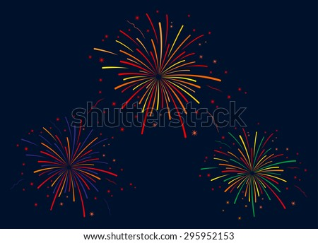 The vector illustration of fireworks on blue background - stock vector