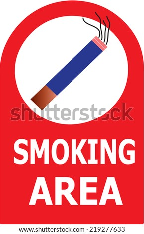 The Vector illustrator of Permitted Smoking Cigarette Area Sign Vector. - stock vector