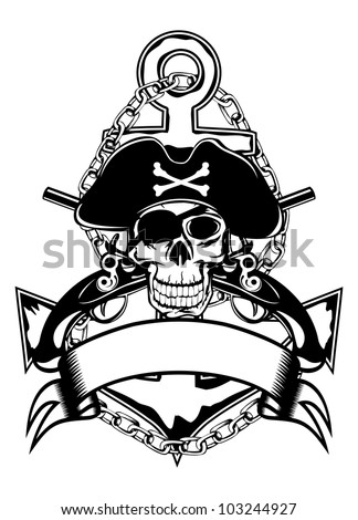 The vector image of piracy skull of an anchor and crossed pistols - stock vector