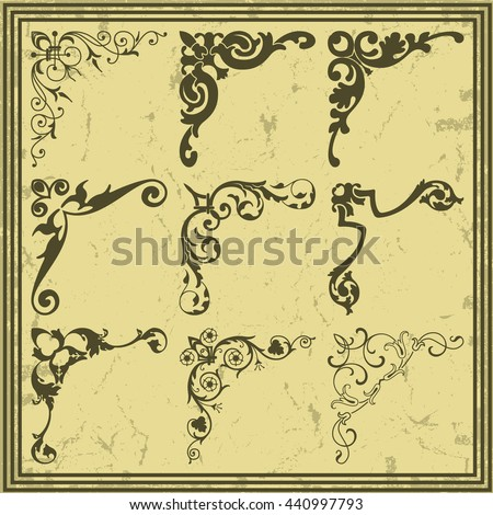 The vector image Vintage design elements corners - stock vector