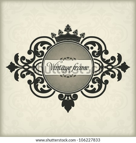 The vector image Vintage frame with crown - stock vector