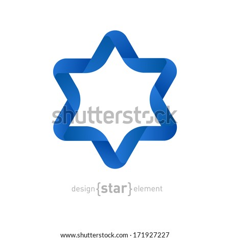 The Vector Origami David Star on white background - stock vector