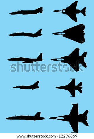 The vector silhouettes of the modern US fighters - stock vector