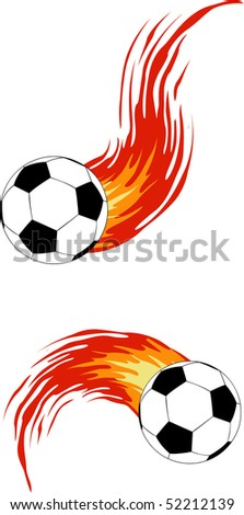 the vector soocer ball with fire - stock vector