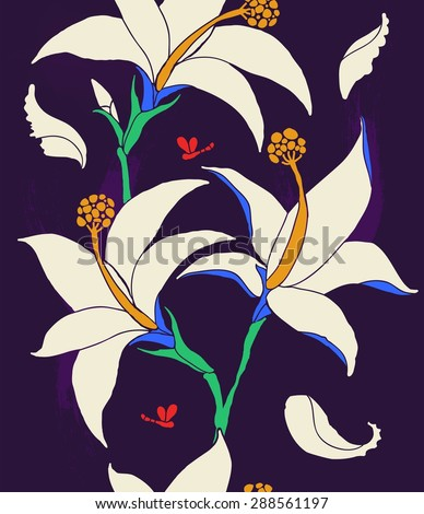 The vertical border of lilies white flowers on a dark background - stock vector