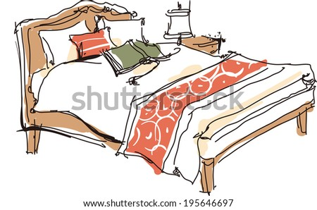 The view of books on the bed  - stock vector
