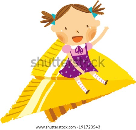 The view of child on the paper airplane  - stock vector