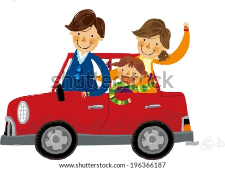 The view of family in the car  - stock vector