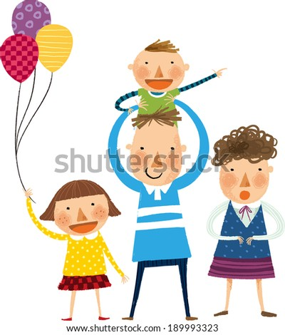 The view of family is standing  - stock vector