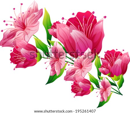 The view of flowers  - stock vector