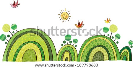 The view of hills with animals  - stock vector