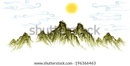 The view of mountain with sun  - stock vector