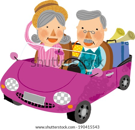 The view of old couple in the car  - stock vector
