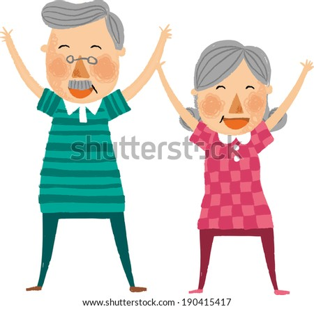 The view of old couple is exercising  - stock vector