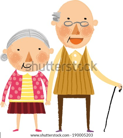 The view of old couple is standing   - stock vector