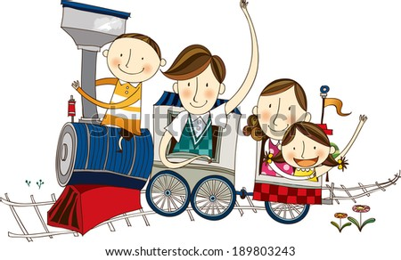 The view of people on the train  - stock vector
