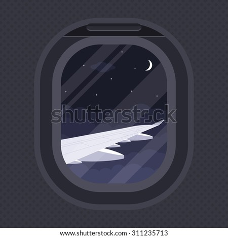 the view of plane wing through illuminator, flat style illustration, travel, around the world concept - stock vector
