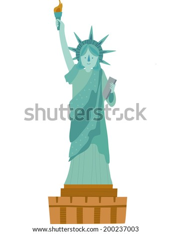 The view of Statue of Liberty  - stock vector