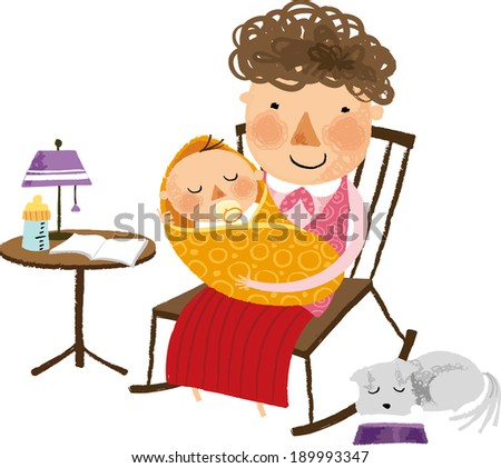 The view of woman with her baby   - stock vector