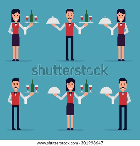 the waiters are the girl and the man holds utensils on the tray - stock vector