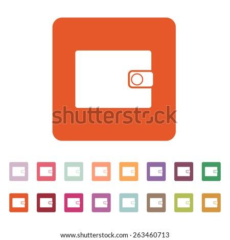 The wallet icon. Purse symbol. Flat Vector illustration. Button Set - stock vector