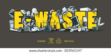 The waste electrical and electronic equipment creating pile around the yellow E-Waste sign. Computer and other obsolete used electronic waste stack on title. Graffity and street art feeling. - stock vector
