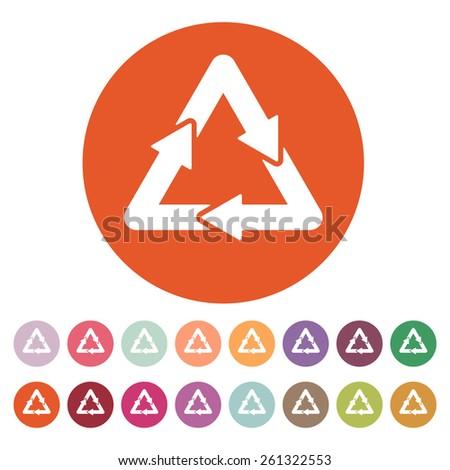 The waste processing icon. Bio symbol. Flat Vector illustration. Button Set - stock vector