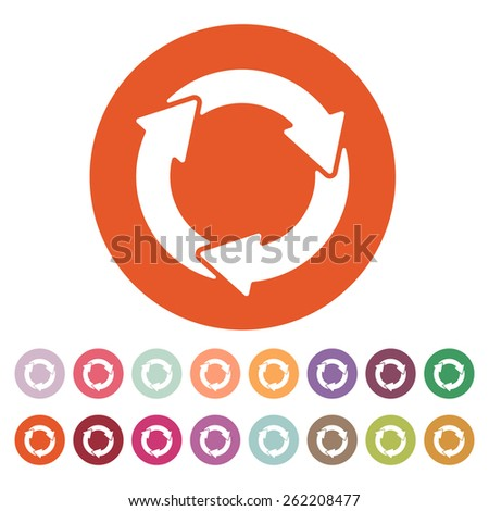 The waste processing icon. Bio symbol. Flat Vector illustration. Button Set - stock vector