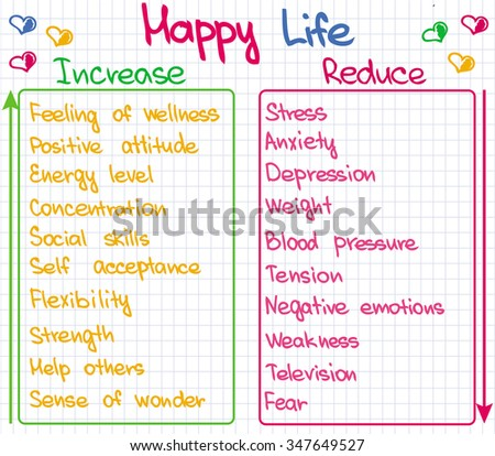 The way how happy life can be achieved - stock vector