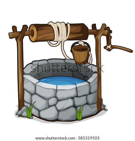 The well with drinking water. Vector illustration. - stock vector