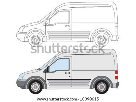 The White mini cargo car - stock vector