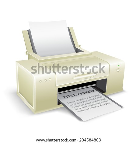 The white printer on the white background - stock vector