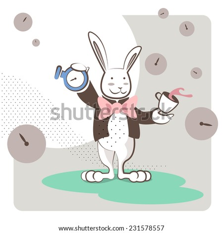 The White Rabbit wearing a pink bow tie stands with a clock and a cup of tea. Vector illustration, outline and pastel colors. - stock vector