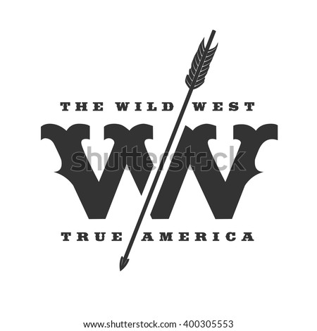 The Wild West concept vector logo template. Wild West concept logo. Wild West image. Wild West design. Wild West sign. Wild West logotype. Wild West symbol. Wild West design element. Wild West texas - stock vector