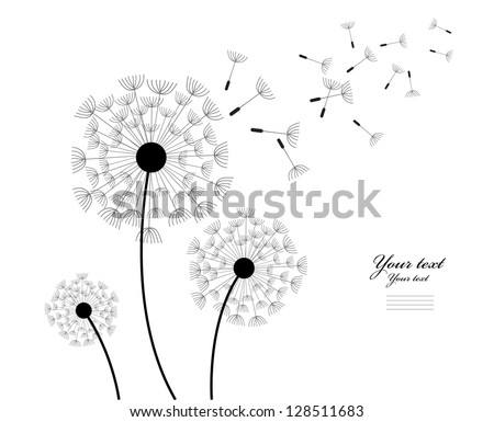 The wind inflates a dandelion. Image on the white background. - stock vector
