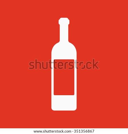The wine icon. Bottle symbol. Flat Vector illustration - stock vector