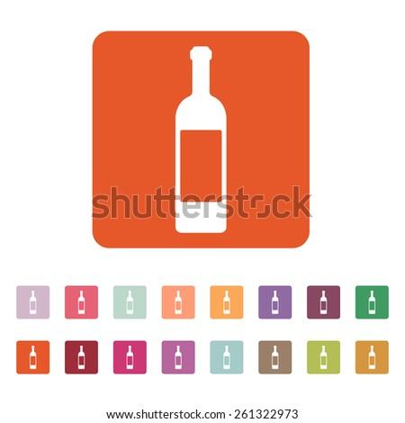 The wine icon. Bottle symbol. Flat Vector illustration. Button Set - stock vector