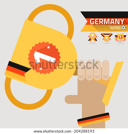 the winner first prize on the hand with germany flag vector - stock vector