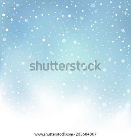 The winter day snowfall and blue mesh sky background - stock vector