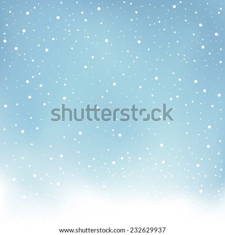 The winter snowfall and blue daytime sky Christmas background - stock vector